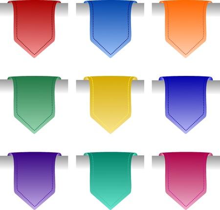 여러 가지 빛깔 된 태그 레이블 설정 일러스트