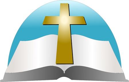 cruz religiosa: Biblia y un vector de la Cruz Vectores