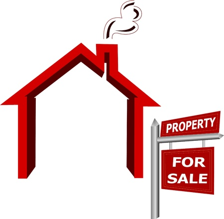 Property for sale - Real Estate sign Illustration