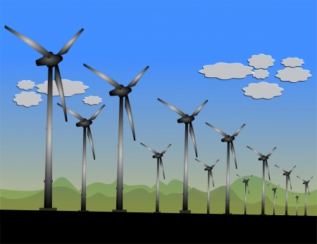 Wind Turbines in a Wind Field Stock Vector - 19941783