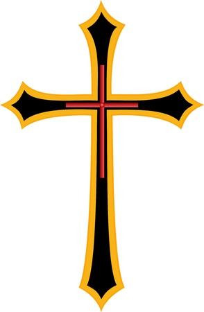 골든 크로스 기독교 종교 기호 일러스트