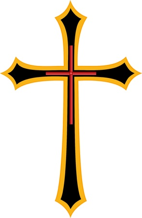 christian symbol: Golden Cross Christian Religious symbol Illustration