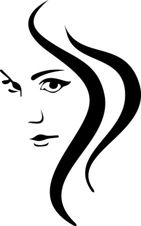 벡터 소녀 얼굴과 머리