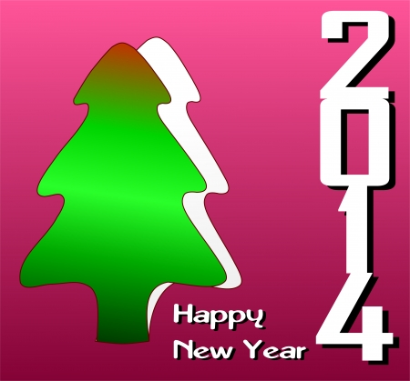 Happy New Year 2014 Greeting Card Design Illustration