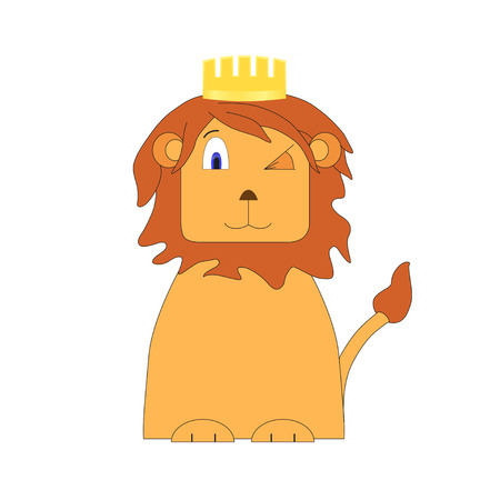 debonair: Cartoon nice lion. Graphic image. Illustration