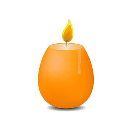 Easter candle in the shape of egg. illustration. White background.