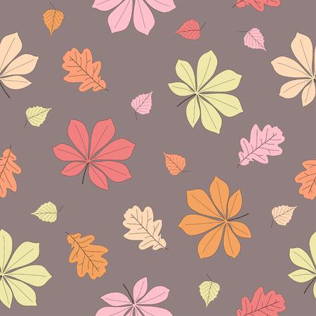 birchen: Seamless pattern autumn leaves. Vector illustration. Colorful beautiful leaf