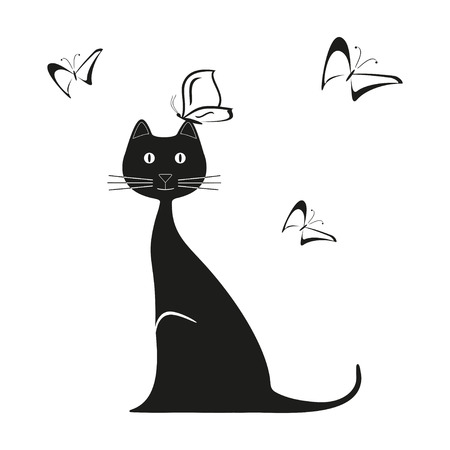 brittle: Vector black butterfly and cat is sitting. Graphic image. Vector illustration Illustration