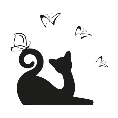 Vector black butterfly and cat is sitting. Graphic image. Vector illustration Illustration