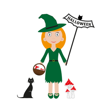 Vector halloween witch. Vector illustration bat, cat, letters, girl Illustration