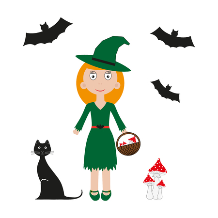 fly agaric: Vector halloween witch. Vector illustration bat, cat, girl