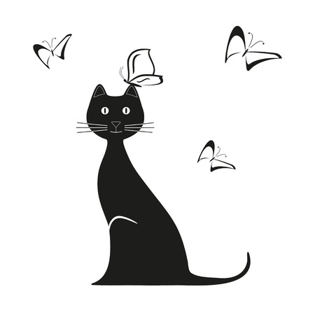 recent: Vector black butterfly and cat is sitting. Graphic image. Vector illustration Illustration