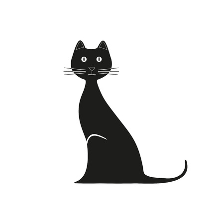 Vector black cat is sitting. Graphic image. Vector illustration