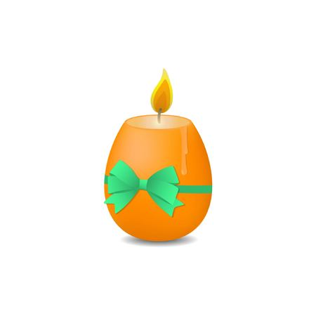 Easter egg candle with green bow. Vector illustration. Easter egg on white background. Illustration