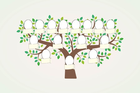genealogical: Family tree and nameplate.