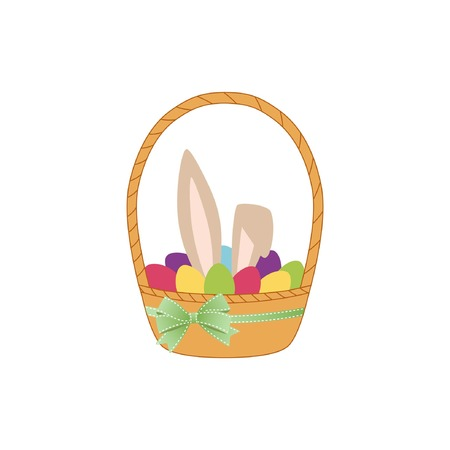 Bunny and eggs in basket. Vector illustration on a white.