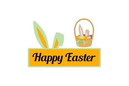 Inscriptie op de plaat. Bunny en eieren in de mand. Belettering Vrolijk Pasen.