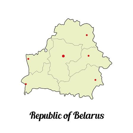 Vectorkaart van de Republiek Wit-Rusland op witte achtergrond