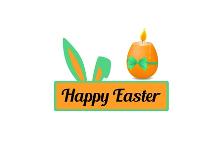 Inscription on the plate. Lettering Happy Easter and Easter egg candle with green bow. Vector illustration.