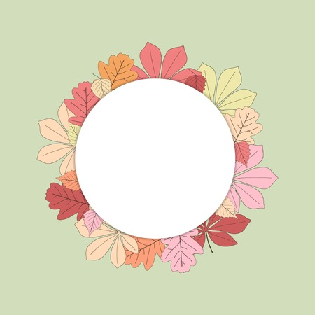 Laat een krans vallen. Vector illustratie. Kleurrijk mooi blad