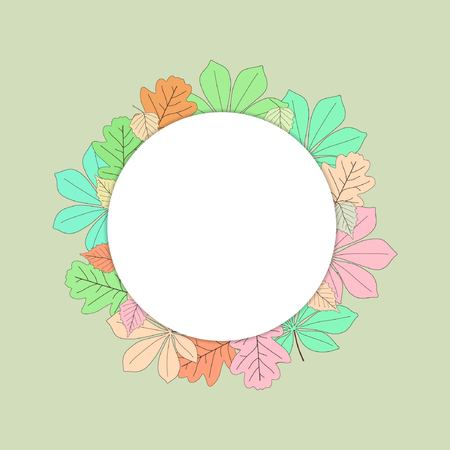 Laat een krans vallen. Vector illustratie. Kleurrijk mooi blad.