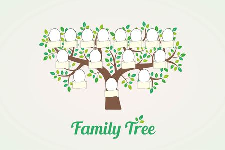 Family tree and nameplate. Vector illustration