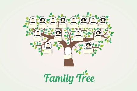 Family tree and nameplate. Vector illustration man and woman profile on a white background
