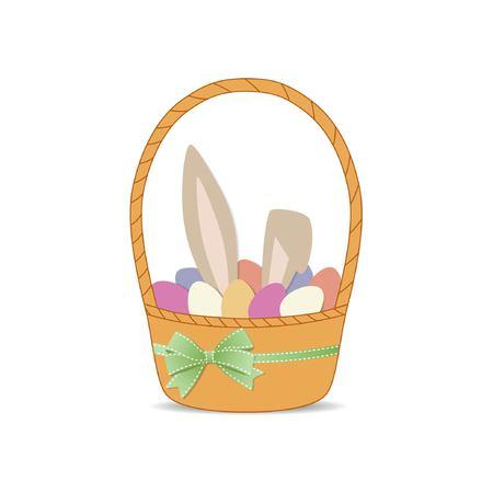 Bunny en eieren in de mand. Vectorillustratie op een witte achtergrond