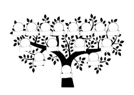 Family tree and nameplate. Vector black illustration on the white background Vettoriali