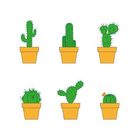 Zes van cactussen op een witte achtergrond. Vectorillustratie, eps10 Verschillende cactussen in potten. Melocactus, Ferocactus. Vetplanten. Thuis planten
