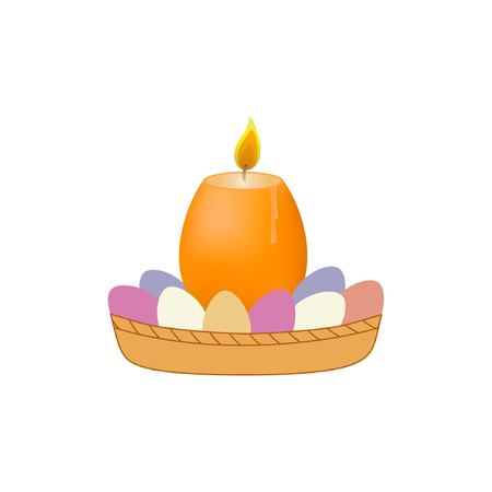 Candle and eggs in basket. Vector illustration on a white background Illustration