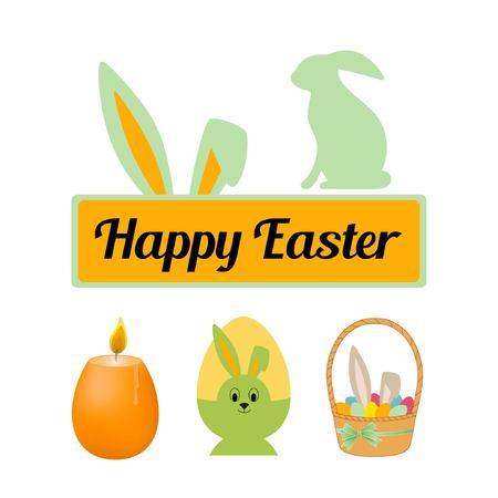 Set van Pasen. Inscriptie op de plaat. Kaars, konijn, eieren in de mand. Belettering Vrolijk Pasen. Vectorillustratie op een witte achtergrond