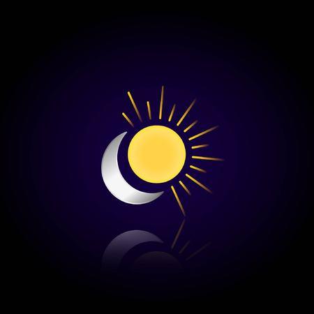 De maan en de zon op een donkere achtergrond. Weerspiegeling van de maan en de zon. Vector illustratie. Cartoon nachtelijke hemel Stock Illustratie