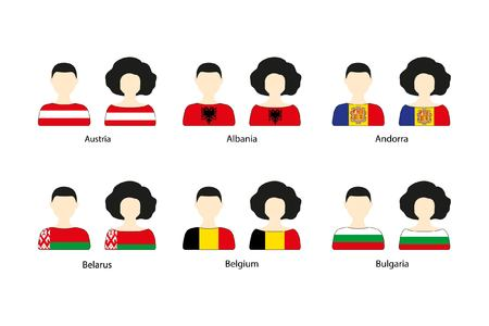 signifier: Set of people icons and European flags on a white background. Flat vector icons of flags of Austria, Belarus, Albania, Andorra, Belgium, Bulgaria