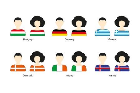 Set van mensen pictogrammen en Europese vlaggen op een witte achtergrond. Platte vector iconen van vlaggen van Hongarije, Duitsland, Griekenland, Denemarken, Ierland, IJsland