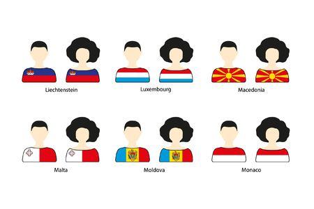 Set van mensen iconen en Europese vlaggen op een witte achtergrond. Vlakke vector iconen van vlaggen van Liechtenstein, Luxemburg, Macedonië, Malta, Moldavië, Monaco Stock Illustratie