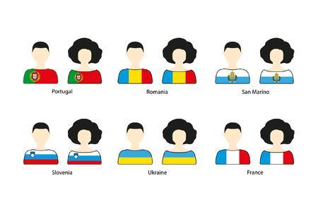Set van mensen pictogrammen en Europese vlaggen op een witte achtergrond. Vlakke vectorpictogrammen van vlaggen van Portugal, Roemenië, San Marino, Slovenië, de Oekraïne, Frankrijk Stock Illustratie