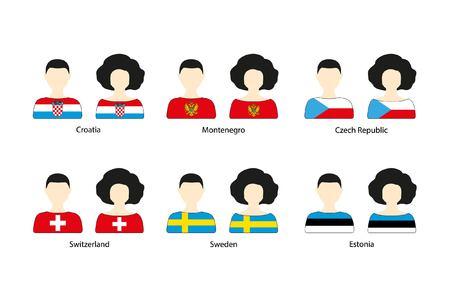 Set van mensen pictogrammen en Europese vlaggen op een witte achtergrond. Vlakke vectorpictogrammen van vlaggen van Kroatië, Montenegro, Tsjechische Republiek, Zwitserland, Zweden, Estland
