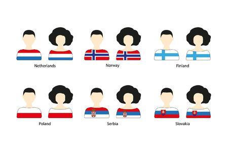 Set van mensen pictogrammen en Europese vlaggen op een witte achtergrond. Platte vector iconen van vlaggen van Nederland, Noorwegen, Finland, Polen, Servië, Slowakije