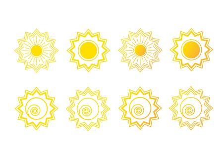 Set van zonnelogo. Vector illustratie