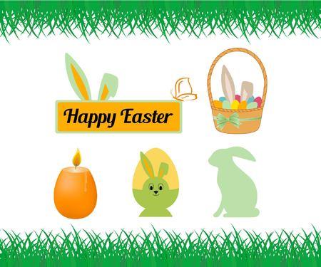 Gelukkige Pasen-reeks. De inscriptie op de plaat. Kaars, konijn, eieren in de mand, groen gras, vlinder. Vectorillustratie op witte achtergrond