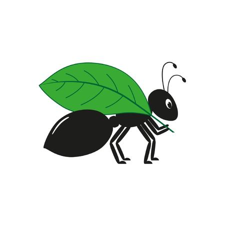 Black ant with a leaf on the white background. Graphic vector image Illustration
