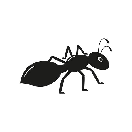 Black ant on the white background. Graphic vector image Illustration