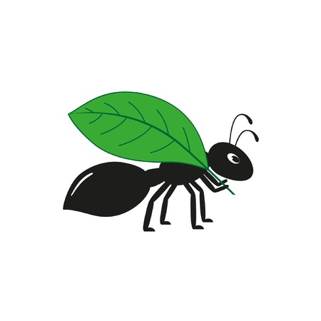 Black ant with a leaf Flat vector illustration