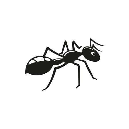 Zwarte mier op een witte achtergrond. Platte vectorillustratie