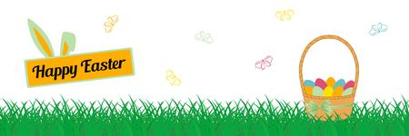 Happy Easter panorama Vector illustration