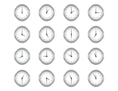 Aantal klokken voor elk uur op de witte achtergrond. Platte vectorillustratie Stock Illustratie