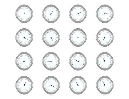 Set of clocks for every hour on the white background. Vector flat illustration