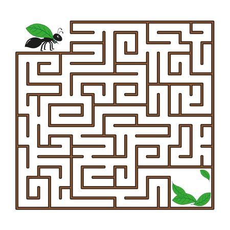 Labyrint voor kinderen. Een zwarte mier met een blad gaat door een doolhof op de witte achtergrond. Vector platte illustratie