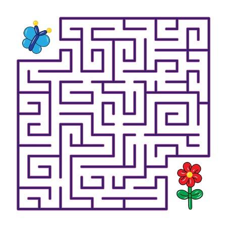 Labyrinth voor kinderen. Vlindervliegen aan de bloem door een labyrint op een witte achtergrond. Platte vectorillustratie